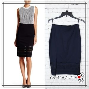 Amanda & Chelsea Laser Cut Ponte Pencil Skirt